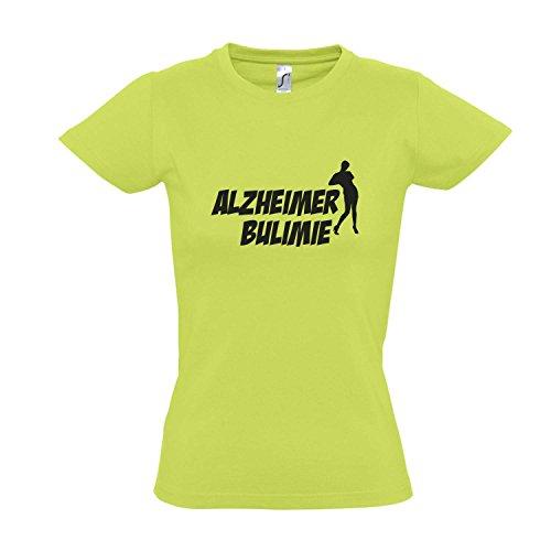 Damen T-Shirt - ALZHEIMER BULIMIE - FUN KULT SHIRT S-XXL , Apple green - schwarz , M