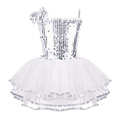 TiaoBug Enfant Fille Justaucorps de Danse Tutu Robe Ballet Latine Patinage Pom-Pom Robe à Paillette Robe Soirée et Bracelet Costume Danse Performance 18 Mois-12 Ans (8-10Ans, B Blanc)
