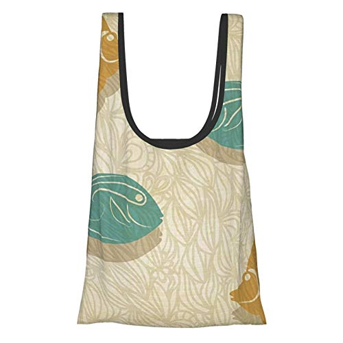 J-shop Fish And Waves Aquarium Marine Ocean Themed Fishing Decor Es Reusable Grocery Bags, Eco-Friendly Folding Tote Shopping Bag Fits In Pocket