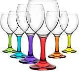 Corail Misket Service de 6 verres à vin ou cocktails colorés210cc/ml dans un coffret cadeau