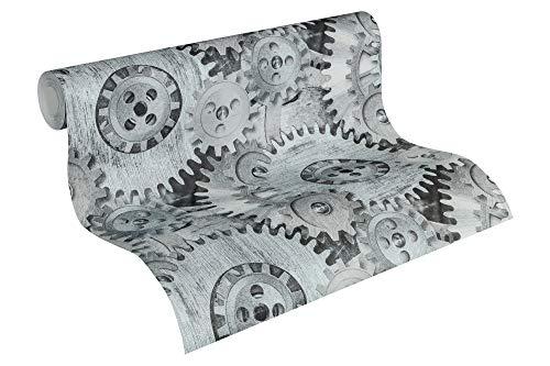 A.S. Création Vliestapete Il Decoro Tapete mit fotorealistischen Zahnrädern 10,05 m x 0,53 m grau metallic schwarz Made in Germany 358591 35859-1