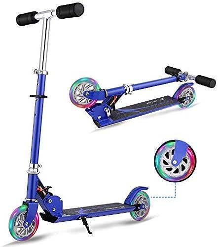Kinder Roller, Faltbare Aluminiumlegierung Einstellbare H  Kinder Tretroller 2 LED leuchten blinkende R r Junge mädchen für 312 Jahre alt (Farbe   Blau)