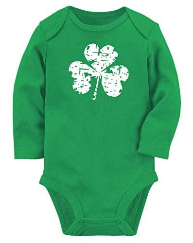 Lovefairy Baby Boys Girls Onesies St. Patrick's Day Clover Shamrock Printed Bodysuits Long Sleeve Romper Jumpsuit Pajamas Green 0-3 Months