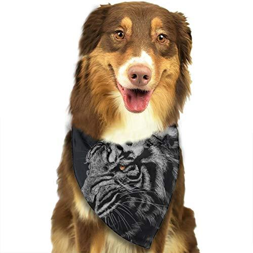 Zwarte en witte gestreepte tijger behang gepersonaliseerde hond kat kakdoek halsdoek set geschikt voor kleine tot grote hond katten