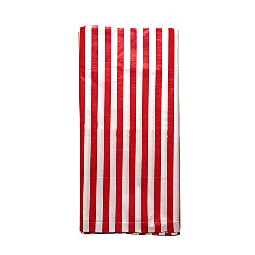 JINSEY Plastic Red White Stripe Print Tablecloths 54 Inch. x 108 Inch (3 Pack)