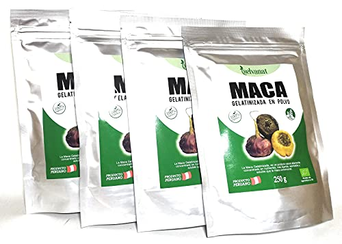 Maca Gelatinizada en polvo 1 kg (Pack 4 unidades de 250 g). Sin gluten No-OMG Orgánica y Vegana. Energía, Fertilidad, Equilibrio Hormonal y Salud Sexual para mujeres y hombres