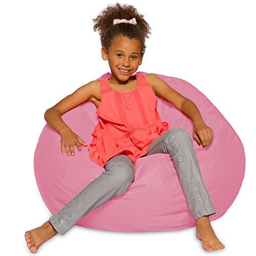 Posh Creations Big Comfy Bean Bag Posh Large Beanbag Chairs with Removable Cover for Kids, Teens and Adults Polyester Cloth Puff Sack Lounger Furniture for All Ages, 27in, Solid: Pink