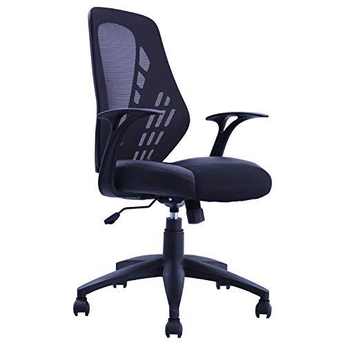 Duhome Sedia per Ufficio Nero Similpelle Tessuto Rete Poltrona da Direttore ergonomica meccanismo di inclinazione Sedia Girevole 393