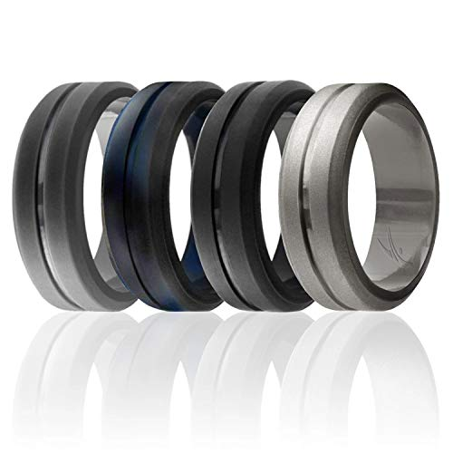 ROQ Silicone Wedding Ring for Men, Set of 4 Elegant, Affordable Silicone Rubber Wedding Bands, Brushed Top Beveled Edges -Black, Grey, Black-Blue Camo, Beveled Metallic Platinum - Size 11