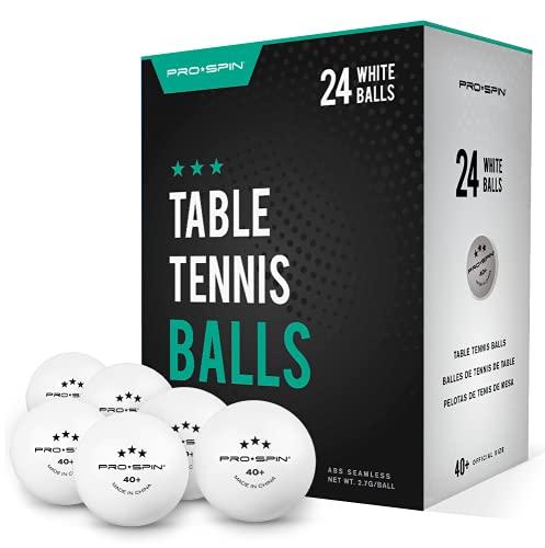 Pro Spin Tischtennisbälle - Weiße Tischtennisbaelle 3 Sterne 40+ (24er-Pack) | Hochwertige ABS-Trainingsbälle | Extrem Robust für Innen- und Außen-Tischtennisplatten, Wettbewerb und Spiel