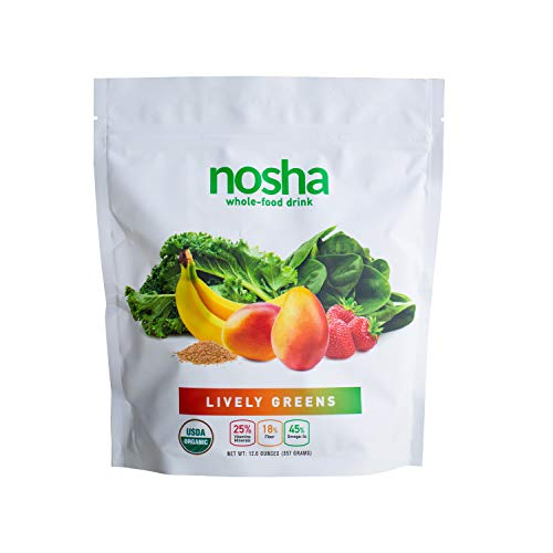 NOSHA Lively Greens | Kale & Spinach Smoothie Powder | 100% Freeze-dried | Organic, Plant-based, Whole Foods | Made with Mango, Banana & Strawberry