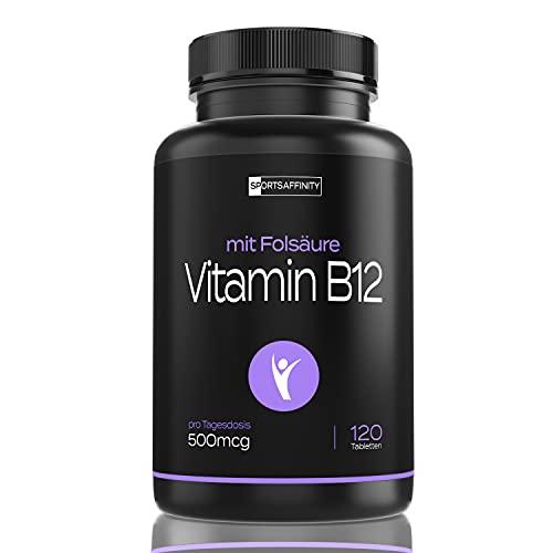 Vitamin B12 500µg + Folsäure Hochdosiert: Beide Aktivformen Methylcobalamin & Adenosylcobalamin - Tagesdosis 500µg pro Tag - Depot Hydroxocobalamin B 12 120 Tabletten (1)