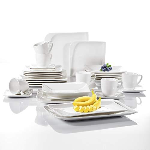 vancasso, série Cloris Service de Table, 32 pièces, pour 6 Personnes, en Porcelaine, Couleur de Blanc,
