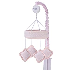 NoJo – Chantilly Shapes Mobile, Nursery Crib Changing Table Musical Mobile – Pink Diamond Shapes