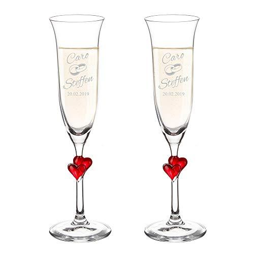 AMAVEL 2er Set Sektgläser mit einem roten Herz und Gravur zur Hochzeit, Motiv Ringe, Personalisiert mit Namen und Datum, Füllmenge: 175 ml