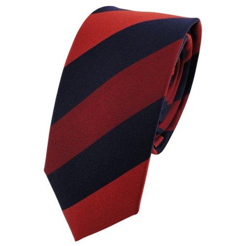 TigerTie - corbata de seda estrecha - naranja rojo-naranja azul oscuro rayas