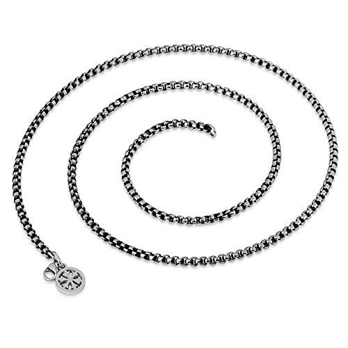Epinki Titan Herren Halskette Venezianierkette Herrenkette Glück Ketten (Nur Kette) Silber 50cm 3mm
