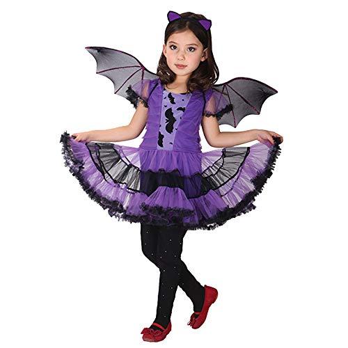 Kinder Halloween Kostüm Mädchen Prinzessin Hexe Kostüm Kind Party Kleid mit Hut Zauberin Kostüm Outfit Magie Prinzessin Rollenspiel Kleidung (Alter 2-15 Jahre)
