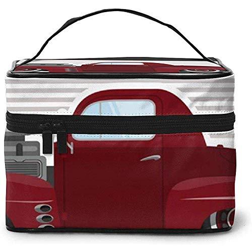 Vintage Car A Portable Portable Ladies Travel Cosmetic Case Bag Storage Makeup Pouch Multi-Function Wash Large Capacity