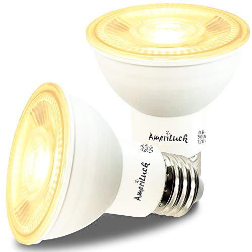 AmeriLuck PAR20 LED Light Bulbs, Dimmable Spot Light 40˚ Beam Angle, 500+ Lumens, 7W, 50W Equivalent, CRI 80+, UL Listed, Glass Filter, Wet Rated (3000K|Warm White, PAR20 2 Pack)