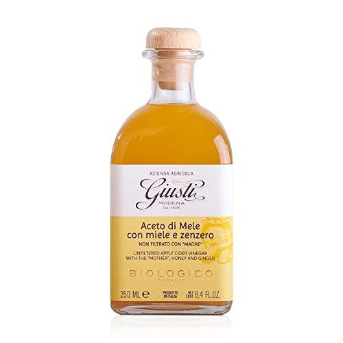 Giusti - Vinagre de sidra de manzana ecológico sin filtrar con madre, miel y jengibre 250 ml