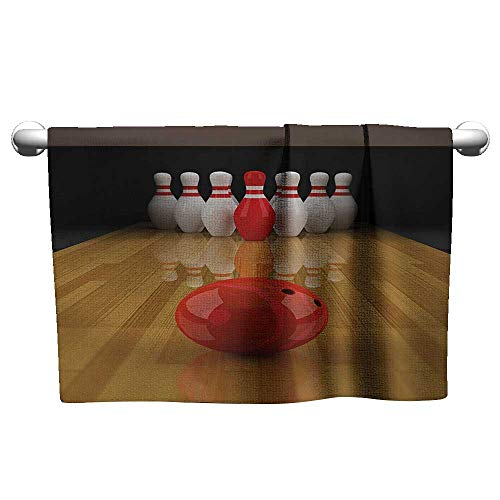 xixiBO Towel W28 x L12 Bowling Party,Alley with Red Skittle in Center Target Score Winning Competition,Pale Brown Red White Hand Towel