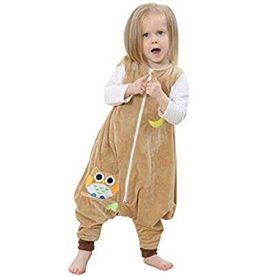Smony Baby Girls Pajamas Cartoon Sleeveless Jumpsuits Toddler Kids Boys Jumpsuit Fleece Striped Rabbit/Dinosaur/Cat Pattern Sleep Clothing with Zip (Yellow, L: Recommended Age:5-6 Years)