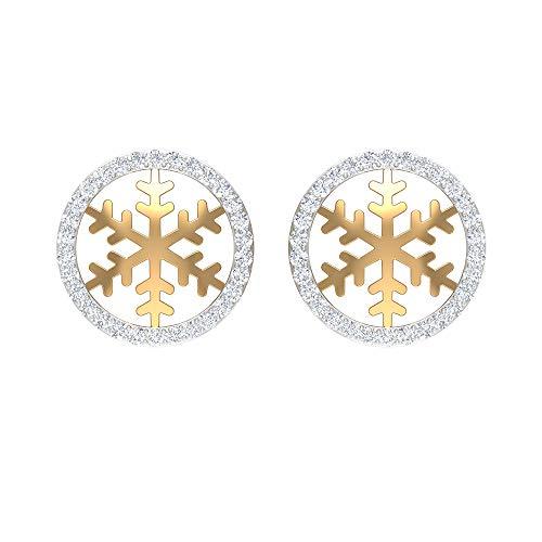 Pendientes de tuerca de eternidad de copo de nieve de 1/4 quilates con diamante (calidad AAA), parte trasera de rosca amarillo
