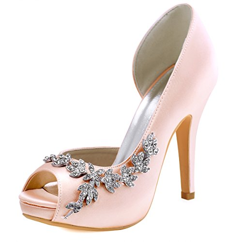 ElegantPark HP1560IAC Women's Peep Toe Platform High Heel Rhinestones Satin Wedding Party Dress Shoes Blush US 10