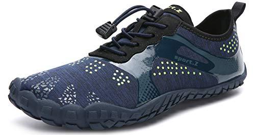 Herren Damen Outdoor Fitnessschuhe Barfußschuhe Trekking Schuhe Badeschuhe Schnell Trocknend rutschfest(Dunkelblau,39 EU)