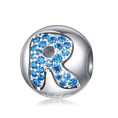 Alphabet Charm Initial Charm Letter R Charm Bead in 925 Sterling Silver with 5A Blue CZ fit Pandora Charms Bracelet Necklace for Birthday Fashion Women Girls Boy Men Gifts