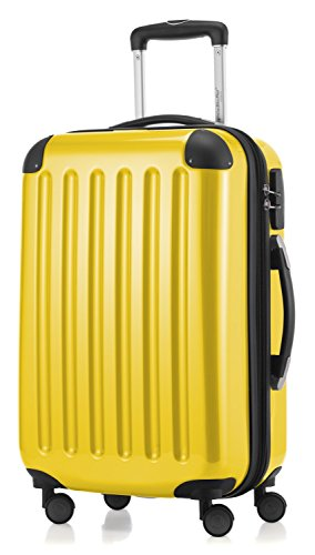 HAUPTSTADTKOFFER - Alex - Carry on luggage On-Board Suitcase Bag Hardside Spinner Trolley 4 Wheel Expandable, 55cm, yellow