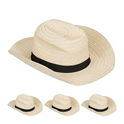 Relaxdays 4 x Panamahut, Cooler Strohhut im Mafia Look, Damen & Herren, Fasching, Bogart Hut mit schwarzem Stoffband, beige