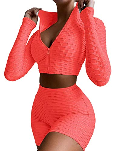 2 Pieces Set Women Textured Workout Sets Long Sleeve Zip Up Crop Top + Honeycomb Ruched Booty Shorts Butt Lifting Biker Shorts Yoga Outfit (Pink, Large)