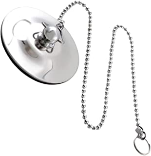 N\A Chrome Sink Plug Bathroom Bathtub Drain Cover Stopper with Chain