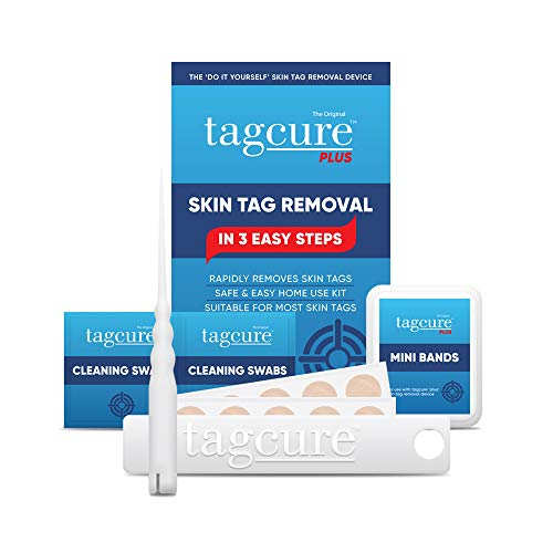 Tagcure PLUS Skin Tag Removal Kit For Easy Skin Tag Removal - Includes x10 Tag Bands x10 Cleaning Swabs & x10 Plasters To Cover Tag Area (For Tags 0.5cm or Larger)