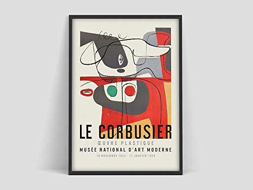 Cartel de la exposición de arte Le Corbusier, Musée National d'Art Moderne print 1954, arte abstracto francés, lienzo sin marco Q-9 60x90cm