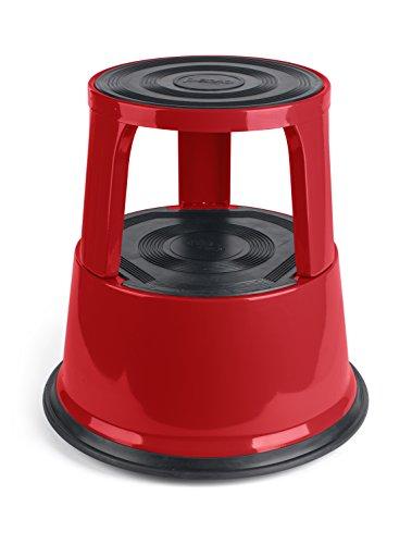 Pavo Premium Step Stool-Sgabello da Lavoro, con rotelle, Fino a 150 kg, in Metallo, Colore: Rosso, Acciaio
