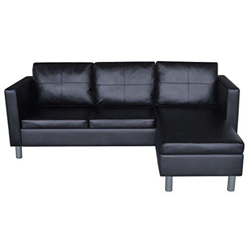 Canapé d'angle 3 places Noir Cuir Pas cher Confort