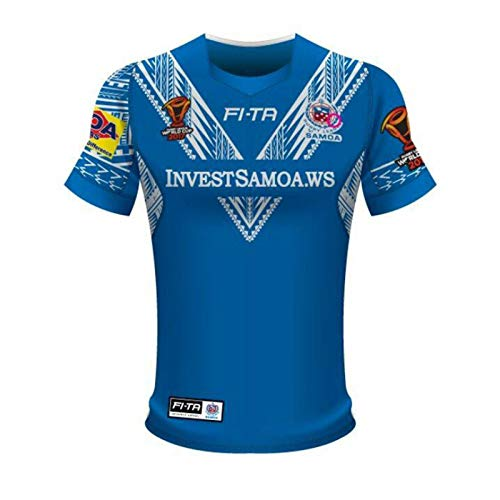 2017 Samoa-Weltcup Rugby-Jersey, Herren Retro Professionelles T-Shirt Outdoor-Training Hemd Polo-Hemd, Rugby-Baumwoll-Jersey-Grafik-T-Shirt, Geschenk Für Einen Freun Blue-XL