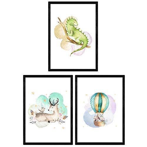 Pak van drie vellen met afbeeldingen van dieren. Poster met kinderfoto's van kinderen. Camaleon herten en globe. A4