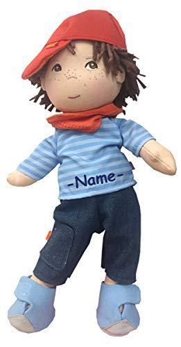 Kinderhaus Blaubär Haba Puppe Weichkörper individuell Bestickt mit Name, Kleine Puppe mit Stoffkörper ca. 30 cm, Babypuppe ab 1 Jahr für Jungs und Mädchen, Haba Conni Puppe und andere, Design:matze
