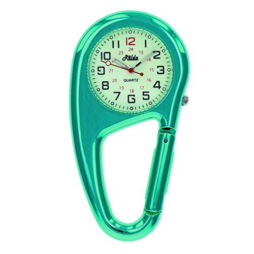 Relda Reloj de metal verde metálico con mosquetón, esfera luminosa verde, ideal para médicos y enfermeras REL141