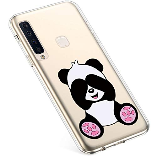 Uposao Kompatibel mit Samsung Galaxy A9 2018 Hülle Silikon Ultra Dünn Durchsichtige Handyhülle Crystal Clear Hülle Transparent Mit Bunt Muster Cover Kratzfest TPU Bumper Handytasche,Cute Panda