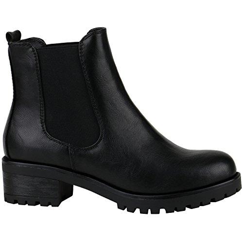 Damen Chelsea Boots Blockabsatz Plateau Stiefeletten Leder-Optik Schuhe 144274 Schwarz Glatt 36 Flandell