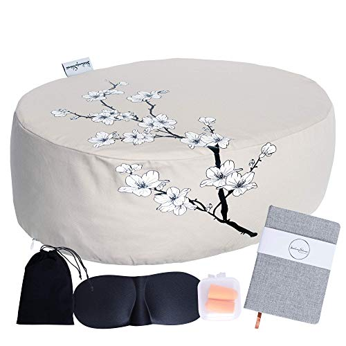 Healing Silence Large Meditation Yoga Cushion Floor Pillow Set for Adults (18x13x6 in)...