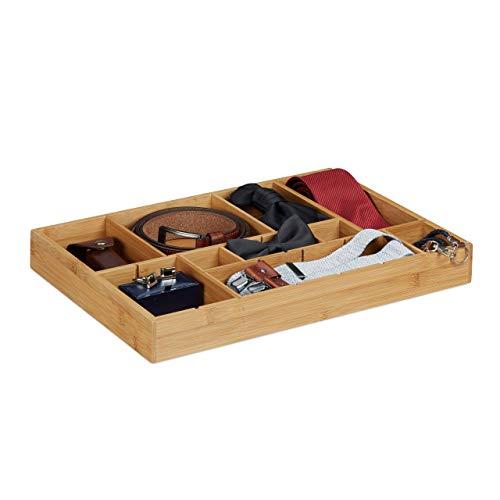 Relaxdays 10020329 Divisorio per Cassetti, Bambú, Marrone Chiaro, 32 x 45 x 5 cm