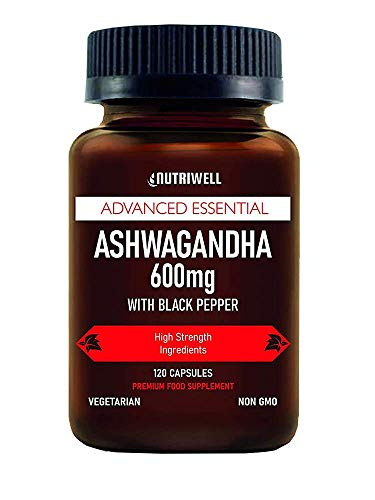 Ashwagandha with Black Pepper 600mg – 120 Vegetarian Capsules (High Strength 1200mg Per Serving) 100% Natural Ayurveda Supplement, Halal & Kosher – Made in The UK by Nutri Well