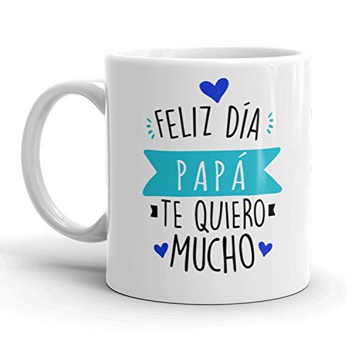 Kembilove Tazas de Desayuno para Padre – Tazas Originales para Padres con Mensaje Feliz día Papá, Te quiero mucho – Regalo Ideal para regalar el día del Padre