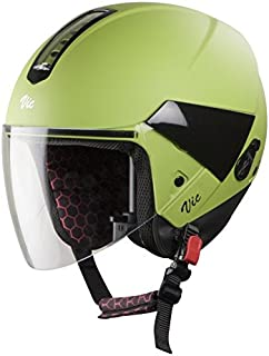 Steelbird Hi-Gn SBH-5 VIC Open Face Helmet with Plain Visor (Female, Matt Y. Green, S)